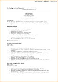 Artist Resume Example Makeup Summary Concept Template Mmventures Co