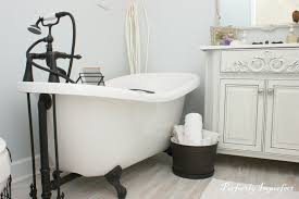 ... Exquisite Bathroom Interior Decoration With Painting Clawfoot Tub  Design : Mind Blowing White Wooden Bath Vanity ...