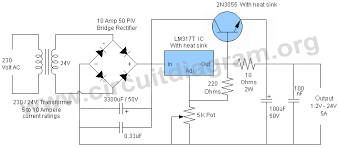 variable power supply circuit diagram the wiring diagram lm317 5a variable or adjustable power supply circuit diagram circuit diagram