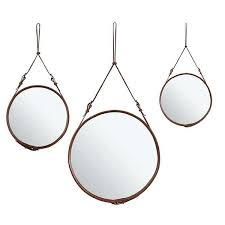 leather strap mirror cocoa round wall hook