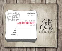 Digital Gift Certificate Template Photography Gift Certificate