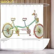 shower curtain clipart. polyester shower curtain decorative colorful tandem bicycle design on white background pattern clipart style print multicolor
