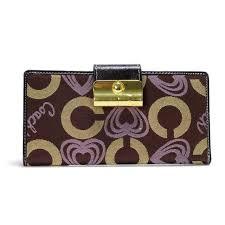 Coach Lock In Hearts Large Coffee Wallets DVV Outlet Clearance