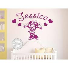 personalised minnie mouse nursery wall sticker baby boy girl bedroom playroom decor decal