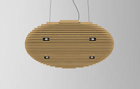 lucid lighting. lounge cercle with spots pendant in natural oak finish lucid lighting