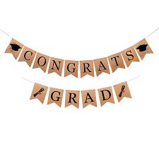 2 In 1 Congrats Grad Graduation Party Supplies Banner Konsait