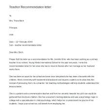 Letter Of Recommendation Template Teacher Teacher Reference Letter Templates Free Sample Example