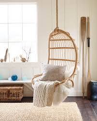 Furniture Accessories:Cute Light Brown Rattan Hanging Chairs With Cream  Modern Pillow Cute Light Brown