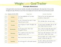 Weight Loss Worksheets Weight Loss Goal Tracker