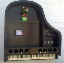 repurposed piano bookcase and wine rack on baby grand piano wall art with repurposed piano makes a grand bookcase wine rack homejelly