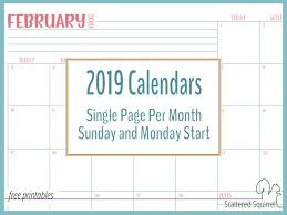 monday sunday calendar single page dated 2019 calendars with sunday and monday starts