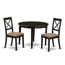 3 Pc Small Kitchen Table Set Round Table And 2 Dining Chairs