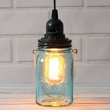 water blue glass mason jar pendant light kit regular mouth black cord 15ft
