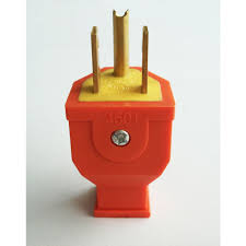 shop cable wire connectors at lowes com project source 15 amp 125 volt orange 3 wire grounding plug