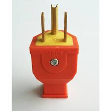 shop electrical plugs connectors at com project source 15 amp 125 volt orange 3 wire grounding plug