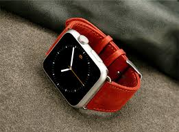 red leather apple watch bands exterior