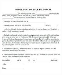 Used Vehicle Sales Agreement Template Sample Car Sale Contract 7 ...