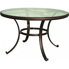 darlee classic 48 inch cast aluminum patio dining table with glass top