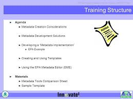 how to make a agenda training structure agenda metadata creation considerations ppt