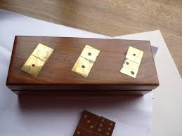 dominoes set wooden box game brass inlay on lid