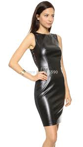 2016 women s y dress pu leather stitching slim hip vest metal zipper tight leather dress xs l in dresses from women s clothing on aliexpress com