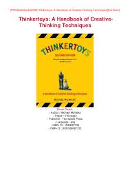 Creative Thinking Techniques Design Read Pdf Online Pdf Thinkertoys A Handbook Of Creative