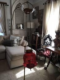 antique cranberry glass pendant chandelier light oil lamp converted stunning