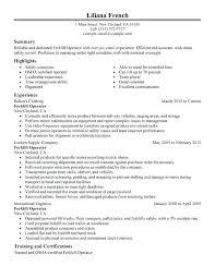 sample resume warehouse skills list forklift operator resume sample resume  samples format