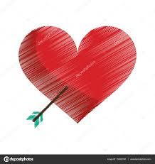 Dessin Coeur Rouge Avec Fl Che D Amour Image Vectorielle Jemastock