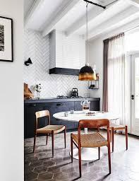 modern tile floor. Black And White Kitchen Eat-in Dining Room | Modern Terracotta Floors Tile Floor T