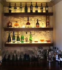 Cool bar lighting Elegant Home Cool Liquor Display With Stone Wall Background Bar Exclusive Floral Designs Cool Liquor Display With Stone Wall Background Bar Bar Lighting