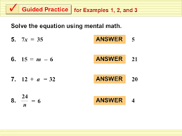 9 solve the equation using mental math