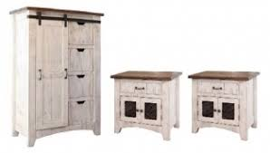 White rustic bedroom furniture Solid Wood Package Deal ch2ns Pueblo White Rustic Antiqued Chest Nightstands Southern Creek Rustic Furnishings Pueblo White Bedroom Furniture Collection Southern Creek Rustic