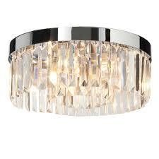 endon lighting 35612 crystal 5lt flush ip44 18w chrome effect plate and clear crystal k9 glass detail bathroom flush light