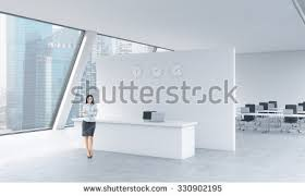 beautiful bright office. A Full Length Of Beautiful Receptionist In Bright Modern Roof Loft Office With Panoramic