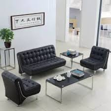 small office sofa. modern small apartment three simple leather office sofa parlor reception combination