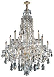 traditional crystal ten light polished brass up chandelier traditional chandeliers