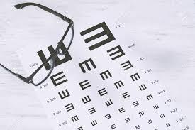 Eye Glasses On Eyesight Test Chart Text Vision Concept