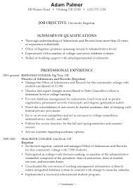Sample Resume University Registrar ...