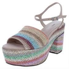 Schutz Shoes Size Chart Details About Schutz Womens Ziquiele Raffia Multi Color Platform Sandals Shoes Bhfo 7923