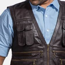 safari brown leather vest