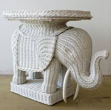 Vintage Wicker Elephant Tray Side Table by TheModernHistoric