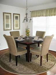 rug placement under round dining table area designs