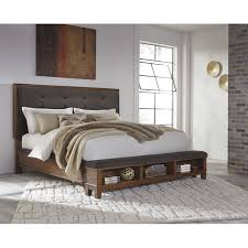Overstock Bedroom Furniture Signature Design By Ashley Moluxy Dark Brown Queen Storage Bed
