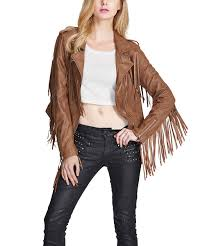 all gone brown fringe faux leather moto jacket