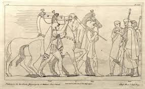 diomedes and odysseus return from their night adventure a drawing by john flaxman