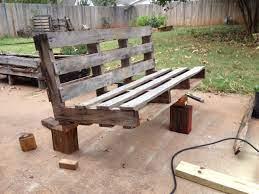 a pallet into an outdoor patio bench
