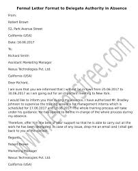 Letter Of Absences Sample Letter Format To Delegate Authority In Absence Free