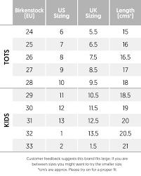 Birkenstock Size Conversion Chart Narrow Arizona Sandal Youth