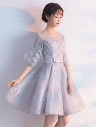 Light Grey Occasion Dress Light Grey Prom Dresses 2020 Short Floral Print Homecoming Dress Lace Half Sleeve A Line Bow Sash Knee Length Party Dress